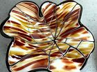 Fused Glass Fluted Bowl Caramel Brown Gold Black White 95 D BB38