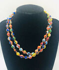 Long Murano Millefiore Glass Beaded Necklace Venetian 32 Inches Vintage Jewelry