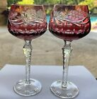 Lausitzer Bohemian Cranberry Ruby Cut To Clear Wine Hock Grape Crystal 2 Glasses