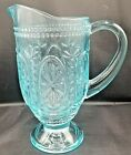 Pressed Glass Blue Footed Pitcher Bunny Hobnail