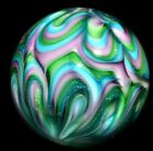 HOT HOUSE GLASS MARBLE 1660 FLAME TWIST BANDED CURVIS 532 TURQUOISE DICHROIC+