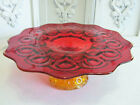 Vintage L E Smith Red Amberina Glass Moon and Stars Pedestal Cake Stand Plate