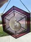 Stained Glass Window Hanging w Real Nautilus Pearl Shell 135 Mauve