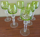 Set of Six Bohemian Crystal Green Cut to Clear Cordials 5 3 8 inches