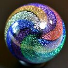 JAMES ALLOWAY GLASS MARBLE 1325 6 COLOR DICHROIC STARDUST470 SAPPHIREDK RED+