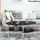 2 Tier Black Oval Glass Side Coffee Table with Shelf Living Room Home Furniture
