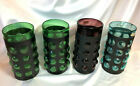 4 VTG Hand Blown Mexican Caged Glass Cylinder TUBES Light Shades BRUTALIST GLASS