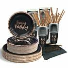 Black and Rose Gold Happy Birthday Party Supplies for 50 Guests Paper Plates