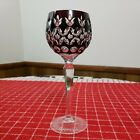 BOHEMIAN CZECH STYLE CUT TO CLEAR CRYSTAL WINE HOCK GOBLET EUC DARK RED
