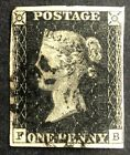 GB QV 1840 PENNY BLACK FB PL10 JUST TOUCHED AT TOP LEFT CLEAR MARGINS BL MX