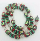 Beautiful Murano Venetian Glowing Foiled Glass Beaded Necklace Vintage Jewelry