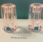 Tiffany and Co Crystal Rock Cut Atlas Candle Stick Holders Signed Set of 2 NEW