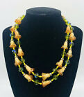 VENDOME Double Strand Glass Bell Flowers Beaded Necklace Olivine Vintage Jewelry