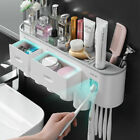 Automatic Toothpaste Dispenser Squeezer Kit Wall Mounted with Toothbrush Holder