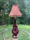 Vintage Ruby Red Glass Table Lamp