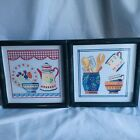 Set of 2 Cross Stitch Heavy Framed Mat Glass Country Kitchen Cottage Core