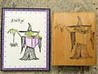 Mostly Animals Mordred the Witch w Spell Book Halloween Rubber Stamp Super Rare