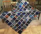 OUTER SPACE THE FINAL FRONTIER Rag Quilt Throw COTTON AND FLANNEL 53 X 66