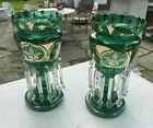 PAIR OF ANTIQUE VICTORIAN ART GLASS MANTLE LUSTERS EMERALD GREEN  GILT W PRISMS