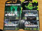 HOT WHEELS PREMIUM LOT OF 4 Ghostbusters ECTO 1 Real Riders VARIATIONS