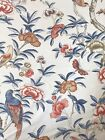THIBAUT CURTAIN FABRIC Giselle 23m Blue Coral LINEN BLEND IMPERIAL GARDEN