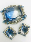 Beautiful Large Blue Givre Glass Brooch and Earrings Demi Vintage Jewelry
