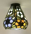 Vintage Stained Slag Glass Lamp Shade Tiffany Style Small Bell Art Flower Deco