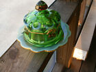 Vintage Mosser Glass Green Opalescent Cherry Thumb Print Covered Butter Dish