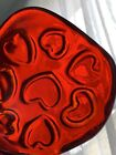 fire and light recycled art glass Red puka With Hearts