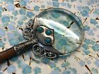 Vintage Tibetan silver turquoise magnifying glass w handle orig box exc cond