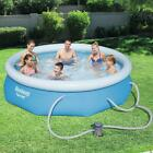Round Inflatable Swimming Pool 10 ft x 30 Inch 330 GPH Filter Pump In Ground New