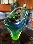 Vintage 1950s 1960s Murano Uranium Glass Sommerso Basket in Green and Blue