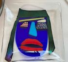 Signed Murano Art Glass Sculpture Plate Dish Picasso Abstract Face
