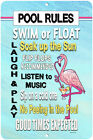 Dyenamic Art Pool Rules Outdoor Metal Signs Flamingo Sign Decor Made In USA