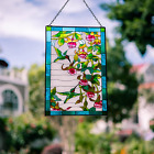 Hummingbird Stained Glass Window Hangings Suncatcher Panel with Chain Home Decor
