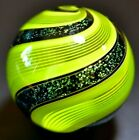 HOT HOUSE GLASS MARBLE 1444 LIME GREEN LATTICINIO BANDED FINE LINER 883 FAST
