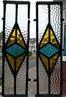 2 art deco leaded light stained glass fragments spare parts for window A1255c