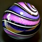 HOT HOUSE GLASS MARBLE 1810 BOYSENBERRY PURPLE DICHROIC BANDED SWIRL 848 FAST