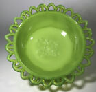 EAPG Antique CHALLINOR TAYLOR NILE GREEN MILK GLASS DAISY  TREE OF LIFE BOWL