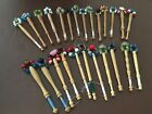 25 WOODEN LACEMAKING LACE BOBBINS WITH BEADED SPANGLES
