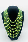 Beautiful 5 Strand Faceted Green Glass Beaded Bib Necklace Vintage Jewelry