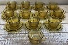 Federal Vintage Glass MADRID AMBER Yellow Depression Glass Cups  Saucers Set