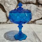 Vintage Fenton Glass Colonial Blue Cabage Compote Candy Dish With Lid Roses