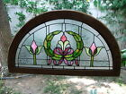 Vintage Early Century Arched Leaded STAINED GLASS WINDOW Arts  Crafts Nouveau