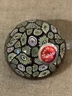 Vintage Murano Art Glass Paperweight Blue Green FLOWER Millefiori Italy W Tag