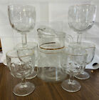 VINTAGE MID CENTURY CLEAR GLASS SERVING PITCHER W Gold BAND  6 Cups
