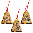 Set of 3 Christmas Nativity Wooden Bell Hanging Tree Decorations