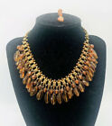 Early Miriam Haskell Topaz Glass Beaded Book Chain Bib Necklace Vintage Jewelry