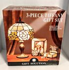 Tiffany Stained Glass Table Lamp Rose Design 3-Piece Gift Set #6576 New In Box
