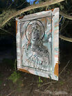 Madonna and Child Stained Glass  by Bryan Teglia  28x35 Old Wood Window